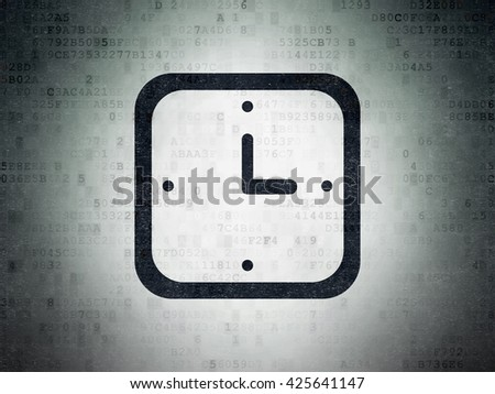Time concept: Painted black Watch icon on Digital Data Paper background