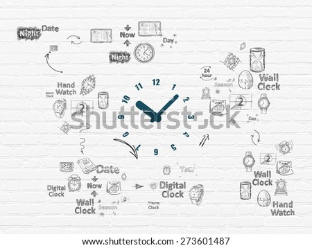 Time concept: Painted blue Clock icon on White Brick wall background with Scheme Of Hand Drawing Time Icons, 3d render