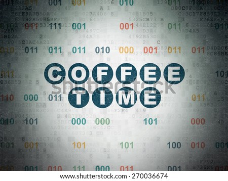 Time concept: Painted blue text Coffee Time on Digital Paper background with Binary Code, 3d render - stock photo