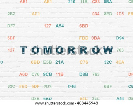 Time concept: Painted blue text Tomorrow on White Brick wall background with Hexadecimal Code - stock photo
