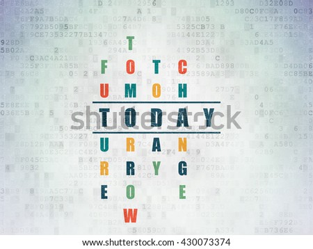 Time concept: Painted blue word Today in solving Crossword Puzzle on Digital Data Paper background - stock photo