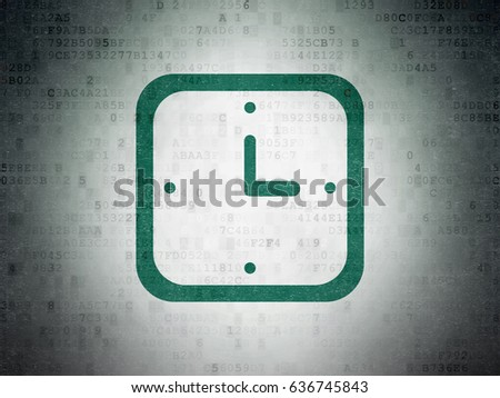 Time concept: Painted green Watch icon on Digital Data Paper background