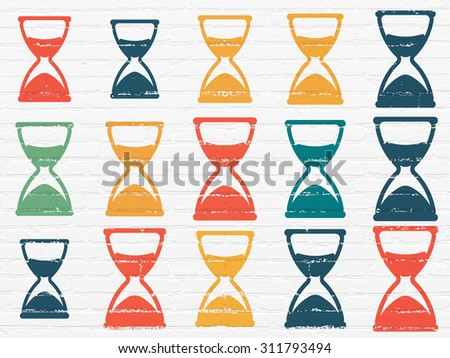 Time concept: Painted multicolor Hourglass icons on White Brick wall background - stock photo