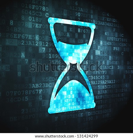 Time concept: pixelated Hourglass icon on digital background, 3d render