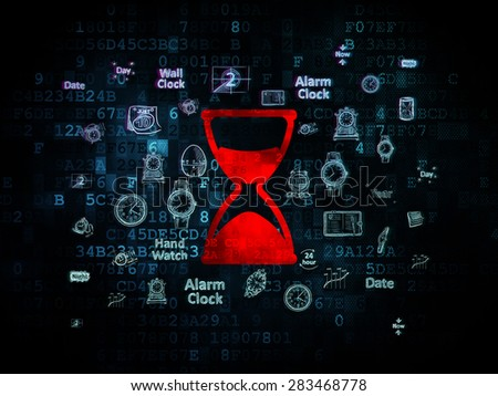 Time concept: Pixelated red Hourglass icon on Digital background with  Hand Drawing Time Icons, 3d render - stock photo