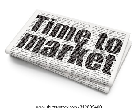 Time concept: Pixelated  text Time to Market on Newspaper background - stock photo