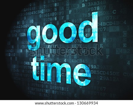 Time concept: pixelated words Good Time on digital background, 3d render