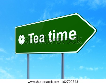 Time concept: Tea Time and Clock icon on green road (highway) sign, clear blue sky background, 3d render