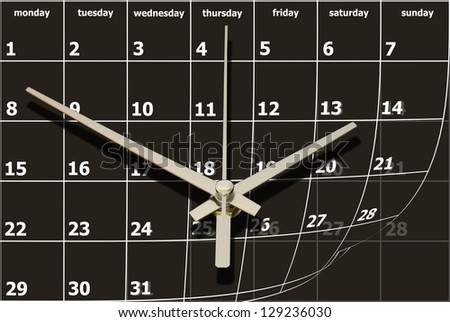 time concept with calendar and clock - stock photo