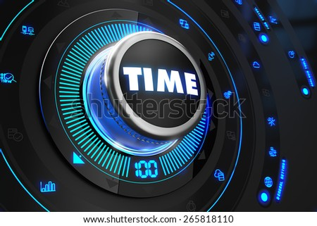 Time Controller on Black Control Console with Blue Backlight. Improvement, regulation, control or management concept. - stock photo
