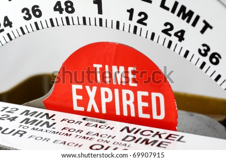 Time expired indicator on a parking meter - stock photo