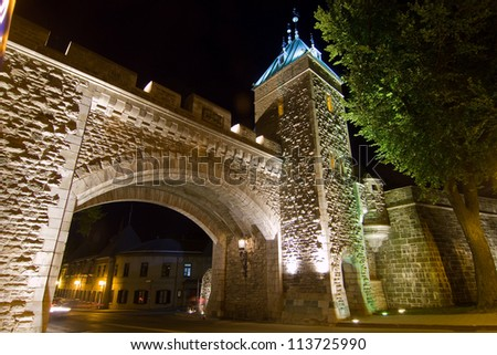 Time exposure of Quebec City gate - stock photo