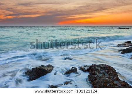 time exposure of waves on gulf of mexico, venice beach florida, usa - stock photo