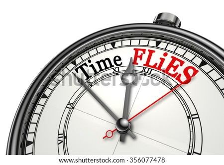Time flies red message on concept clock, isolated on white background