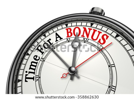 Time for a bonus red word on concept clock, isolated on white background - stock photo