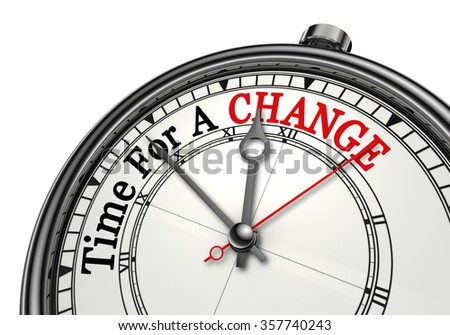 Time for a change red word on concept clock, isolated on white background