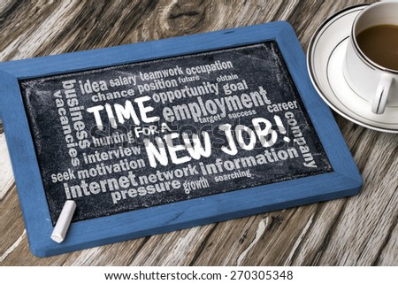 time for a new job concept with related word cloud handwritten on blackboard - stock photo