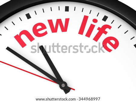 Time for a new lifestyle concept with a clock and new life word and sign printed in red 3d render image.