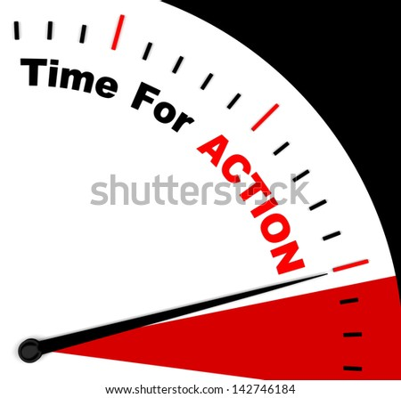 Time for Action Clock Says To Inspire And Motivate - stock photo