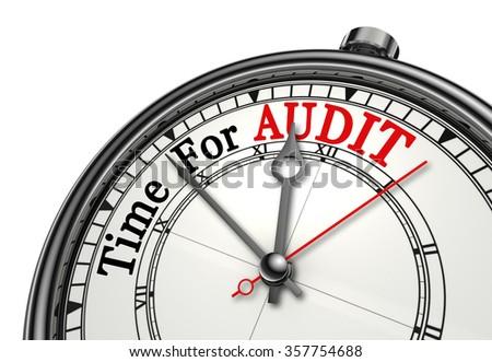 Time for audit red word on concept clock, isolated on white background