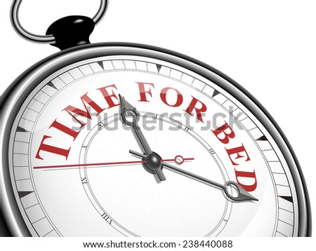 time for bed concept clock isolated on white background - stock photo