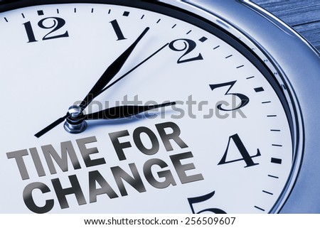 time for change concept on wall clock