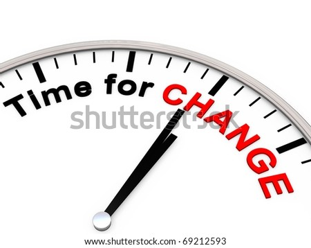 Time for Change on a Clock - stock photo