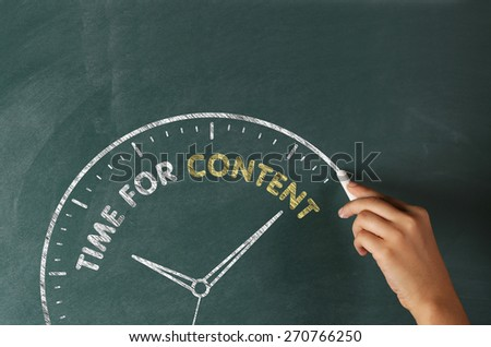 Time for Content Concept on Blackboard - stock photo