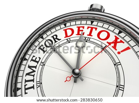 time for detox concept clock, isolated on white background - stock photo
