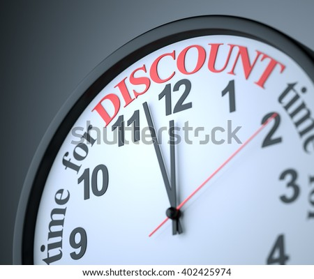 Time for Discount , 3d render - stock photo