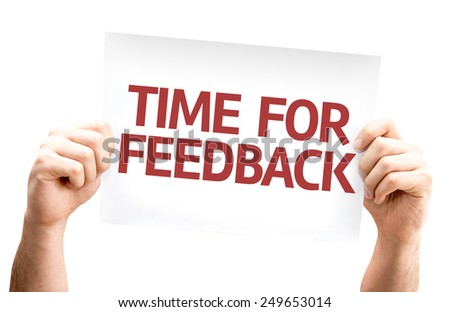 Time for Feedback card isolated on white background - stock photo