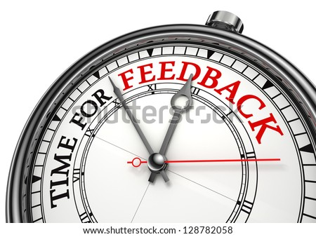 time for feedback concept clock on white background with red and black words - stock photo