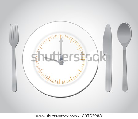 time for food concept illustration over a grey background - stock photo