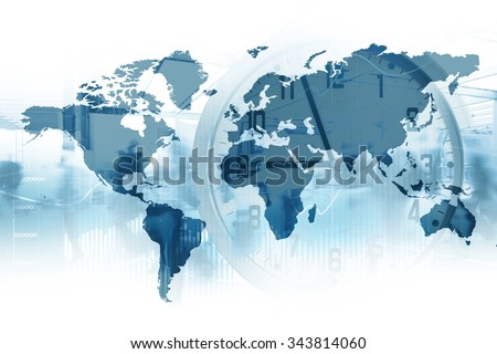 Time global business map world clock foto de stock libre de time for global business map of the world with a clock in double exposure gumiabroncs Images