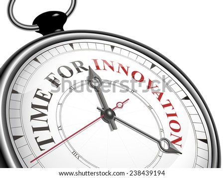 time for innovation concept clock isolated on white background - stock photo