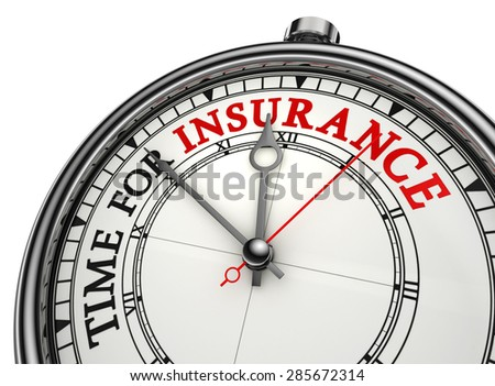 time for insurance concept clock, isolated on white background