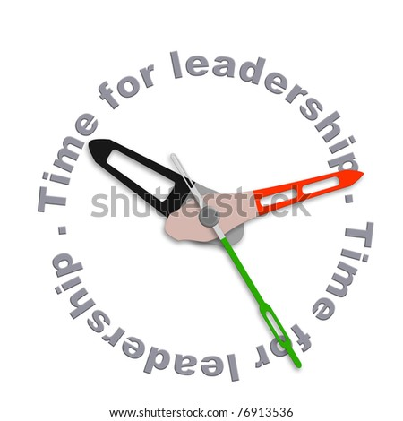 Time for leadership business leader market leader or team leader management to lead organization towards success isolated clock with text - stock photo