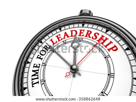 Time for leadership red message on concept clock, isolated on white background - stock photo