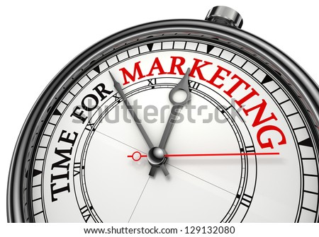 time for marketing concept clock on white background with red and black words