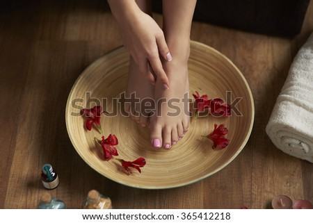 Time for pedicure at spa center  - stock photo