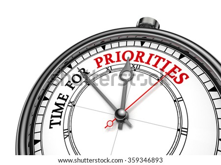Time for priorities motivation message on concept clock, isolated on white background