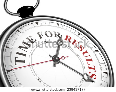 time for results concept clock isolated on white background