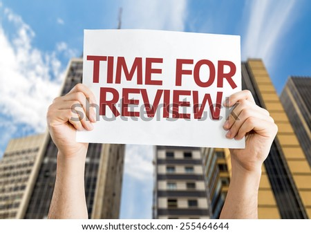 Time for Review card with urban background - stock photo