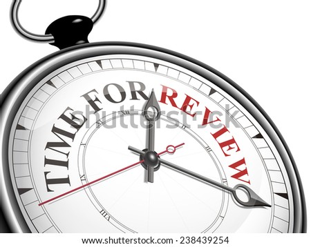 time for review concept clock isolated on white background - stock photo