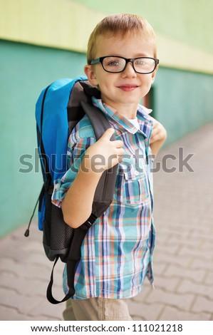 Time for school. Happy boy. - stock photo