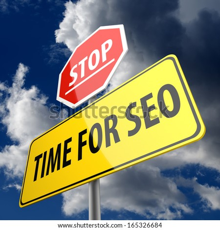 Time for SEO words on Road Sign and Stop Sign - stock photo