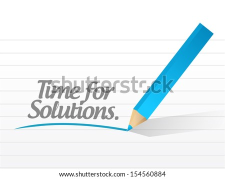 time for solution written on a white paper illustration design - stock photo