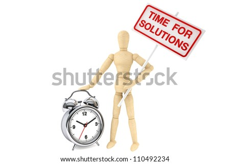 Time For Solutions Concept. Wooden Dummy with banner and alarm clock on the white background - stock photo
