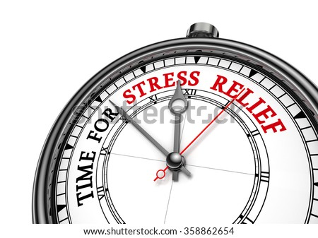 Time for stress relief motivation clock, isolated on white background - stock photo