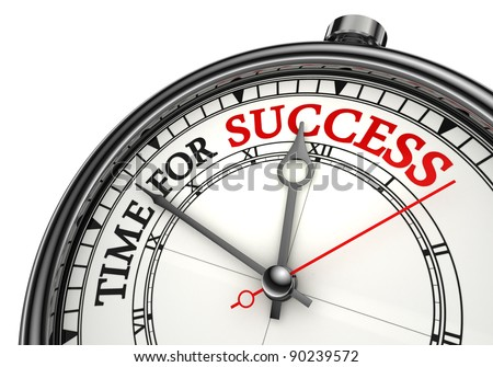 time for success concept clock closeup on white background with red and black words